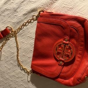 Tory Burch Orange Leather purse with gold chain